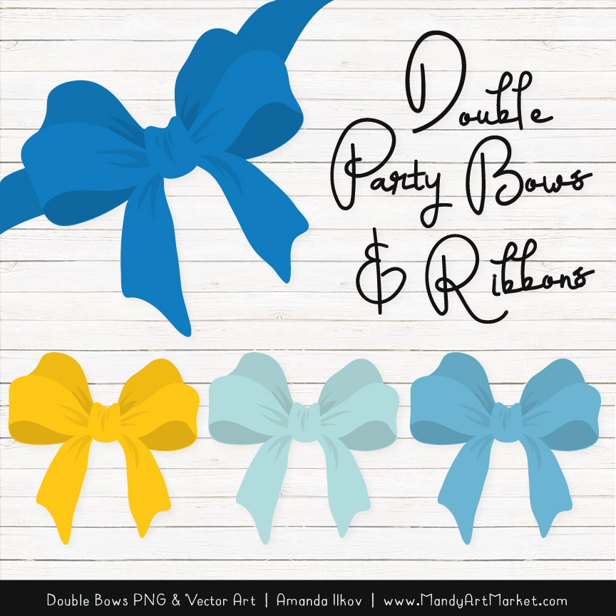 Free Blue & Yellow Party Bow Clipart