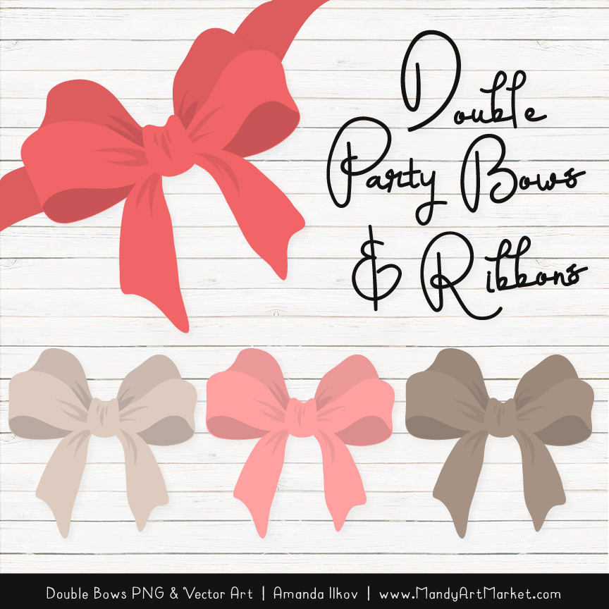 Free Coral Party Bow Clipart