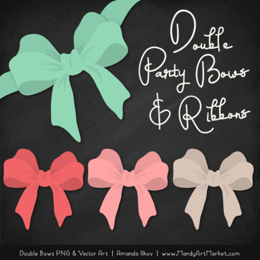 Free Mint & Coral Party Bow Clipart