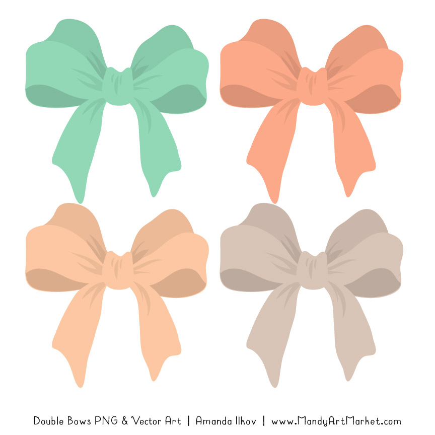 Free Mint & Peach Party Bow Clipart