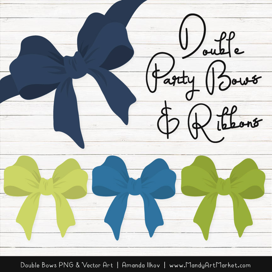 Free Navy & Bamboo Party Bow Clipart