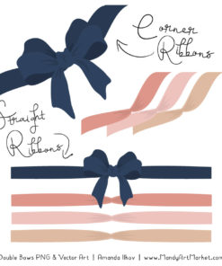 Free Navy & Blush Party Bow Clipart