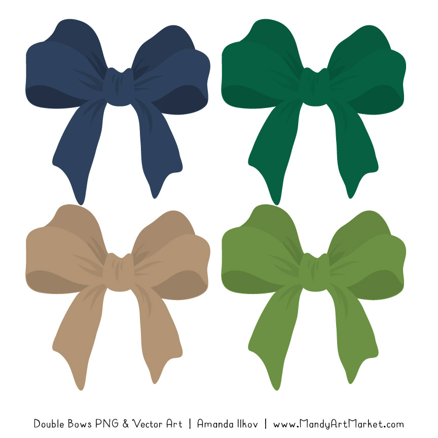 Free Navy & Emerald Party Bow Clipart