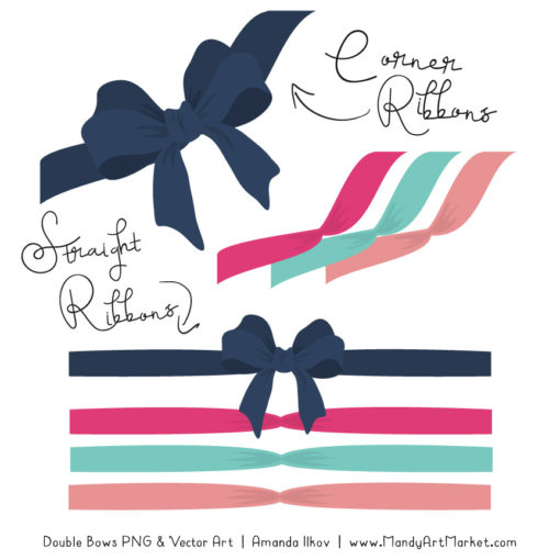 Free Navy & Hot Pink Party Bow Clipart