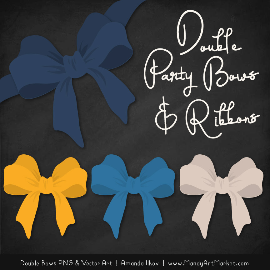 Free Navy & Lemon Party Bow Clipart