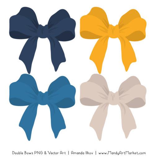 Free Navy & Lemon Party Bow Clipart