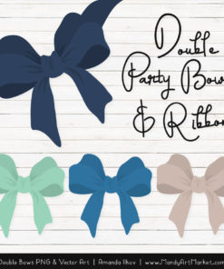 Free Navy & Mint Party Bow Clipart