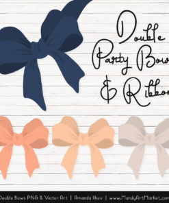 Free Navy & Peach Party Bow Clipart
