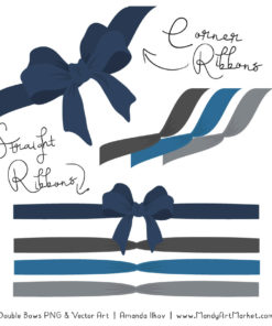 Free Navy & Pewter Party Bow Clipart