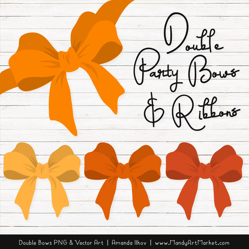 Free Orange Party Bow Clipart