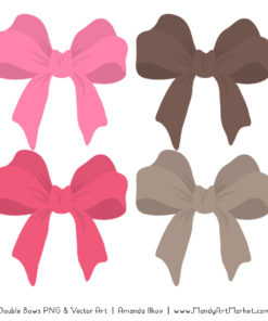 Free Pink & Brown Party Bow Clipart