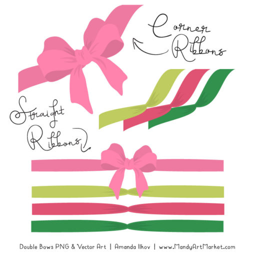 Free Pink & Green Party Bow Clipart