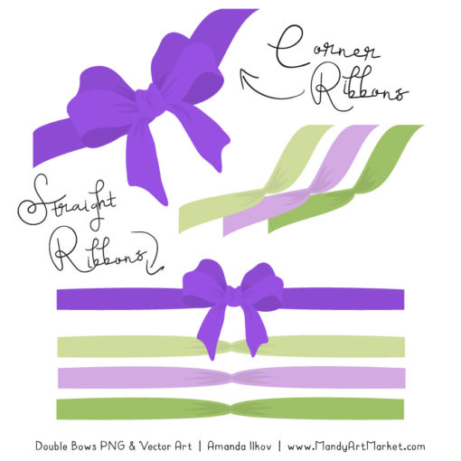 Free Purple & Lime Party Bow Clipart