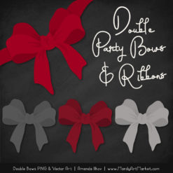 Free Red & Pewter Party Bow Clipart