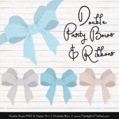 Free Soft Blue Party Bow Clipart