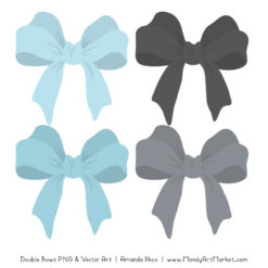 Free Soft Blue & Pewter Party Bow Clipart
