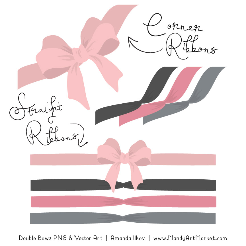 Free Soft Pink & Pewter Party Bow Clipart