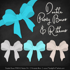 Free Tropical Blue Party Bow Clipart