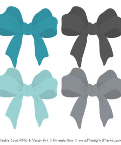 Free Vintage Blue & Pewter Party Bow Clipart