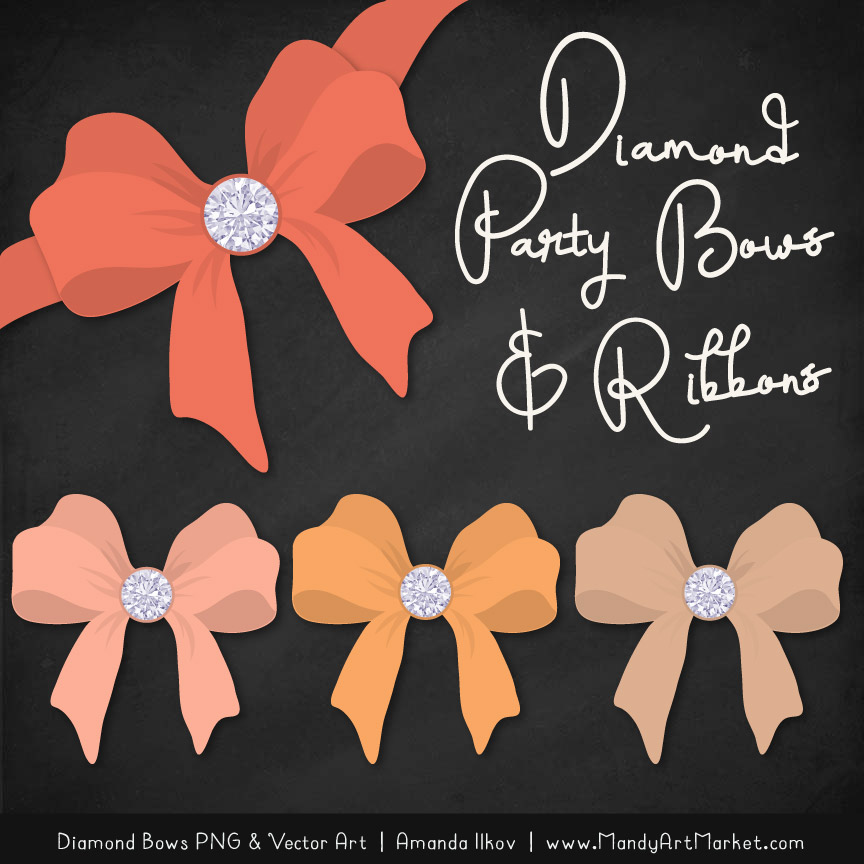 Antique Peach Diamond Bow Clipart
