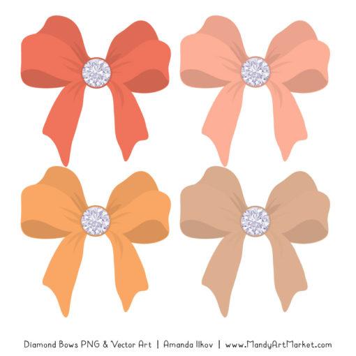 Antique Peach Diamond Bow Clipart