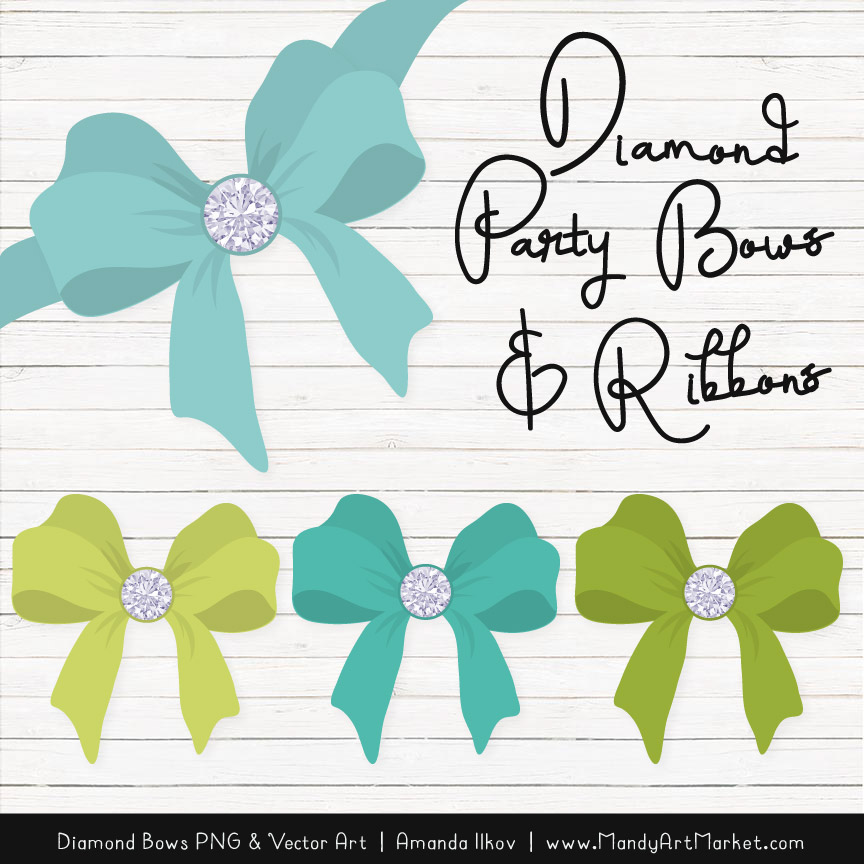 Aqua & Bamboo Diamond Bow Clipart