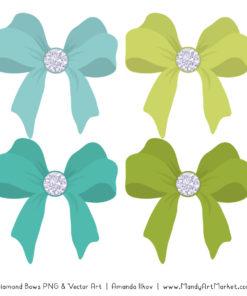 Aqua & Bamboo Diamond Bow Clipart