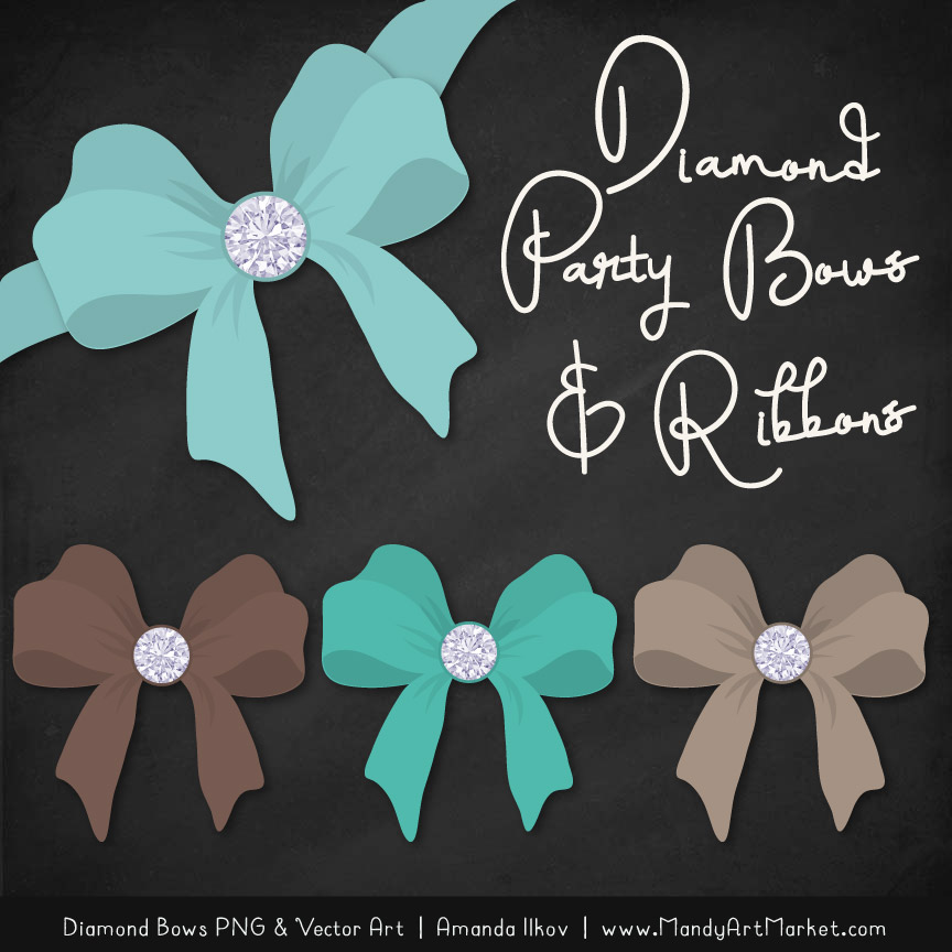 Aqua & Brown Diamond Bow Clipart