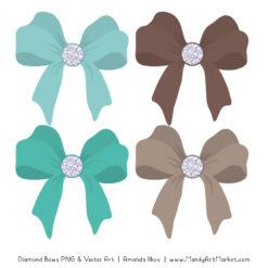 Aqua & Brown Diamond Bow Clipart