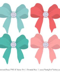 Aqua & Coral Diamond Bow Clipart