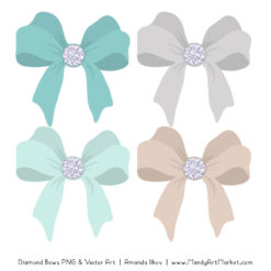 Aqua Diamond Bow Clipart