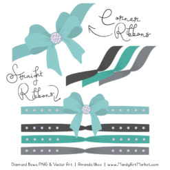 Aqua & Pewter Diamond Bow Clipart