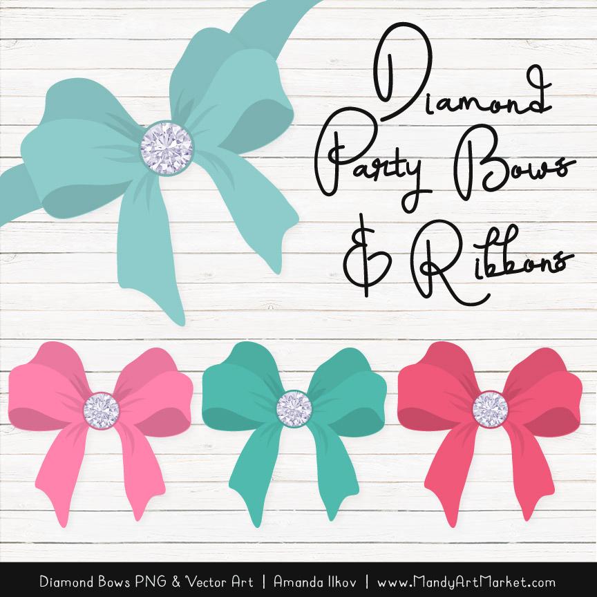 Aqua & Pink Diamond Bow Clipart