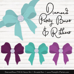Aqua & Plum Diamond Bow Clipart
