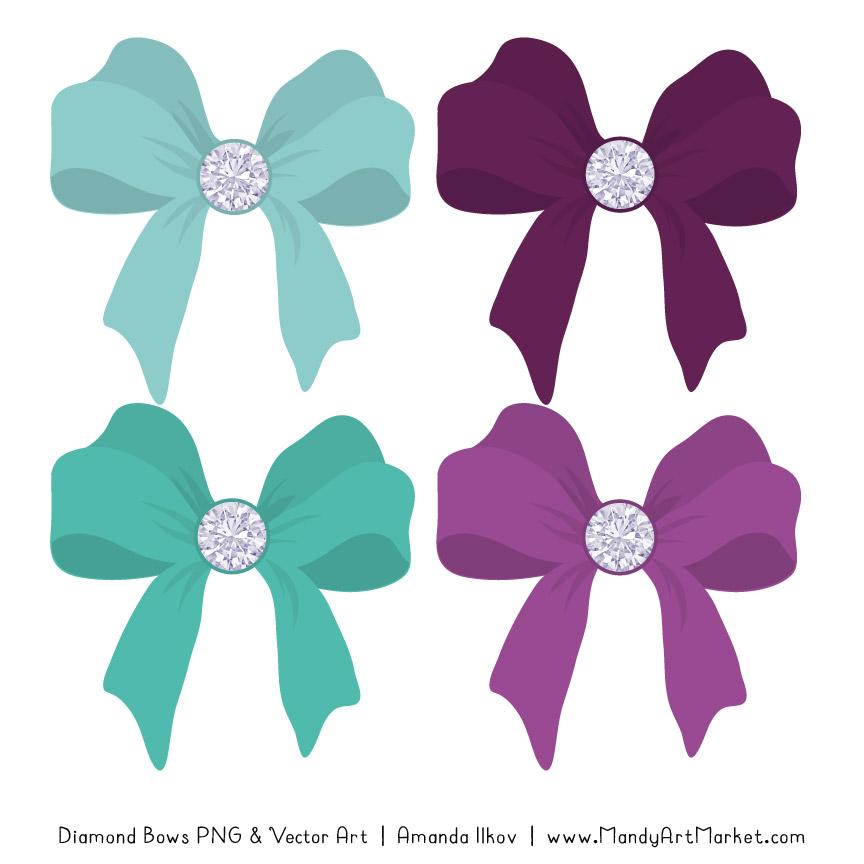 Aqua & Plum Diamond Bow Clipart