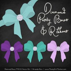 Aqua & Purple Diamond Bow Clipart
