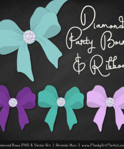 Aqua & Purple Diamond Bow Clipart