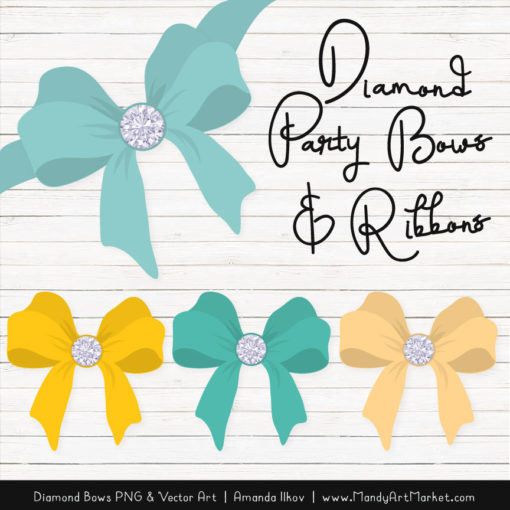 Aqua & Yellow Diamond Bow Clipart