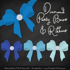 Blue Diamond Bow Clipart