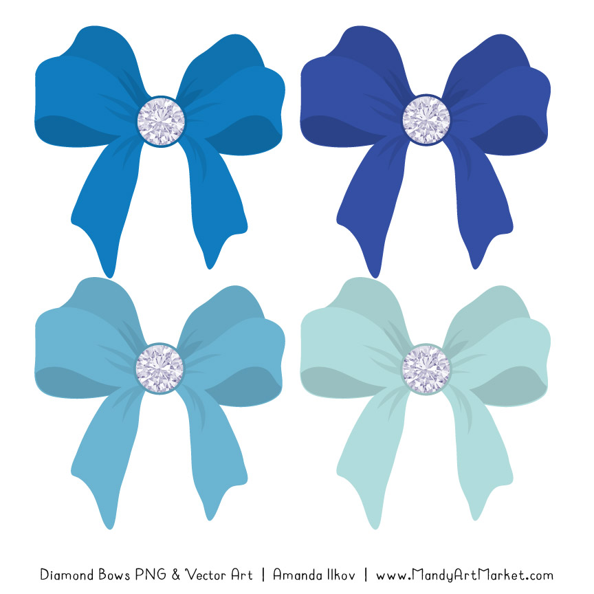 Blue Diamond Bow Clipart