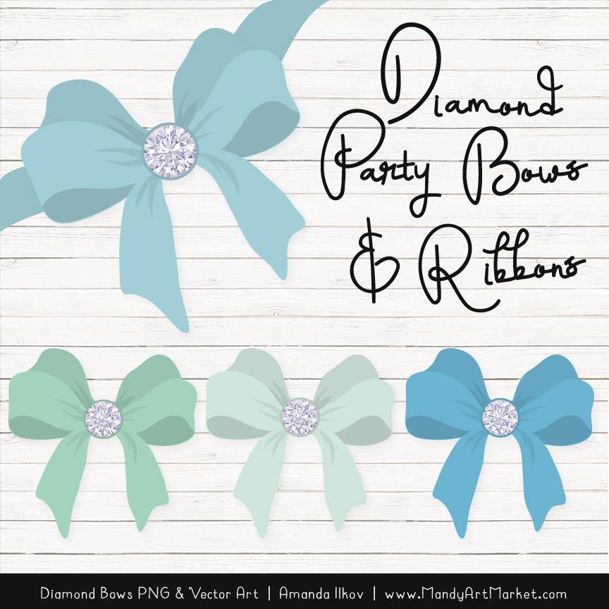 Blue & Mint Diamond Bow Clipart