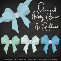 Blue & Mint Diamond Bow Clipart
