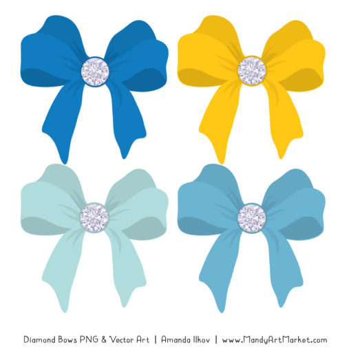 Blue & Yellow Diamond Bow Clipart