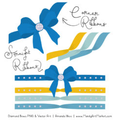Blue & Yellow Diamond Bow Clipart
