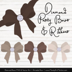 Brown Diamond Bow Clipart