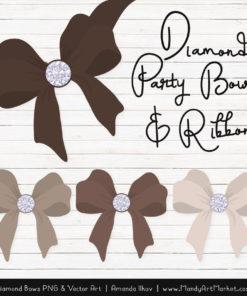 Brown Diamond Bow Clipart