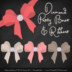 Coral Diamond Bow Clipart