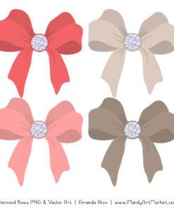 Coral Diamond Bow Clipart