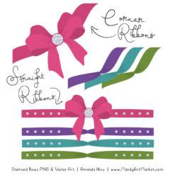 Crayon Box Girl Diamond Bow Clipart