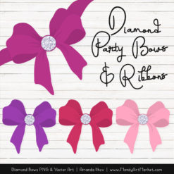 Fuchsia Diamond Bow Clipart